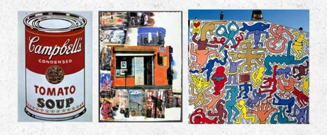 Warhol, Rauschenberg, Haring (painted on building facade)
