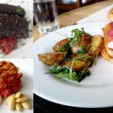 Aterian kingit: haukiburgeri, musta makkara, punajuurikakku.