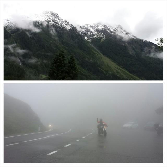 Sama vuori (Timmelsjoch) kahtena peräkkäisenä päivänä. Ylempi tältä aamulta ja alempi eiliseltä.