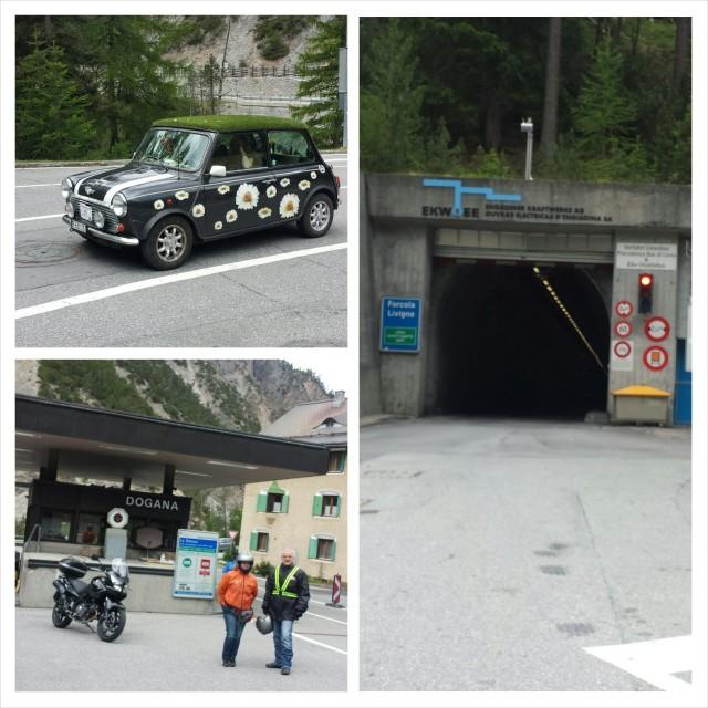 Sveitsistä Italian Livignoon meidän kanssa samaan tunneliin jonotti muitakin motoristeja  ja söpö auto.