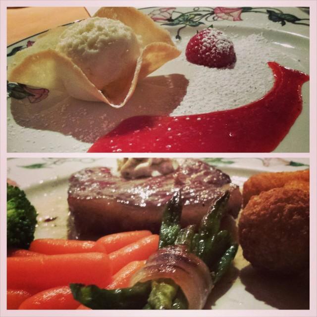 Tämä ruoka oli muuten mainio. Hyvä jälkkäri ja pihvi mutta porkkanat ja perunapallerot olivat karmeita.