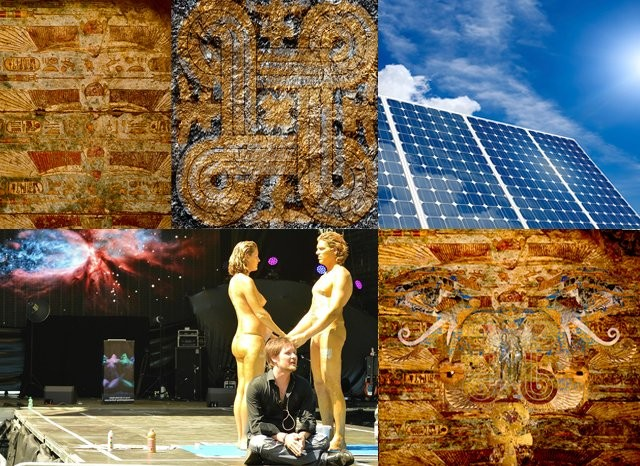 (left to right) Karnak Ceiling, Kalevala, Solar Panel, Vesa on stage with models, Artevo piece: Lux