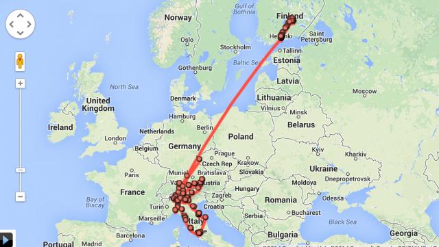 Google Maps on seurannut minua koko Euroopan reissuni ajan. Seurannan tarkkuus on hämmentävä.
