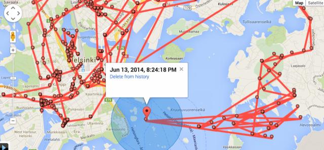 Google Maps tietää liikkeistäni ilmeisesti enemmän kuin minä. En muistaakseni ole ollut Ryssäsaaren edustalla veneilemässä. Jollen sitten ole ollut tietämättäni??? Ehkä Google tietää enemmän kuin minä!?!
