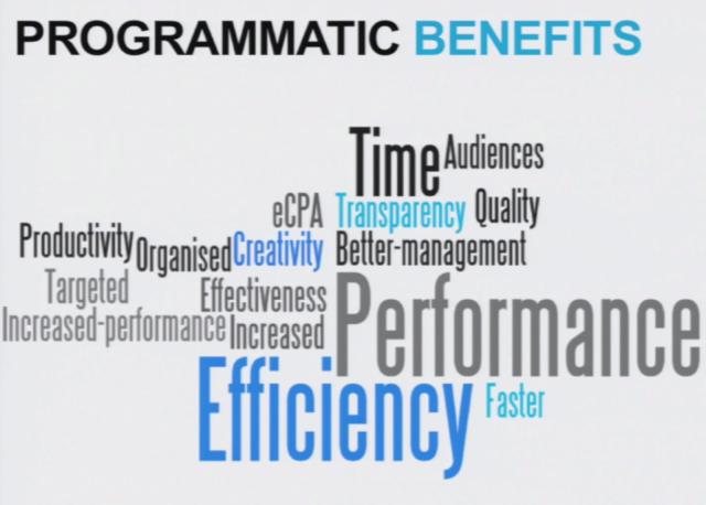 Ohjelmallisesta ostamisesta on paljon hyötyjä. Kuva IAB Real Time Advertising seminaarista