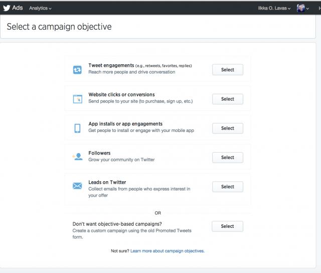 Oman kampanjan voi ostaa itsepalvelutyökalun kautta. Ensin määritellään kampanjan tarvoitteet.