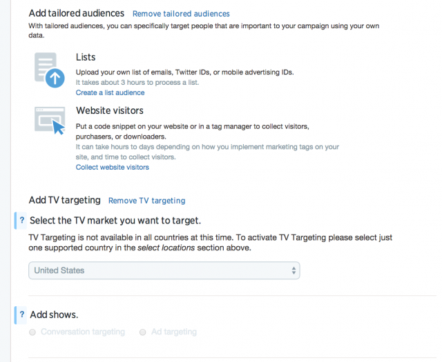 Twitteriin voi tehdä myös retargetointia tai email-listaperusteista kohdennusta.