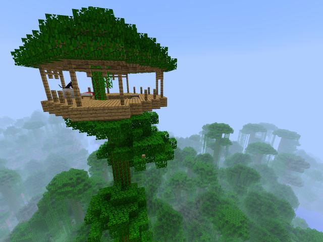 Minecraft on peli, jossa vain mielikuvitus on rajana maailmoja rakennellessa. Kuvassa Minecraft Blockeista rakennettu puumaja. Kuva cc by sa Mike Prosser.