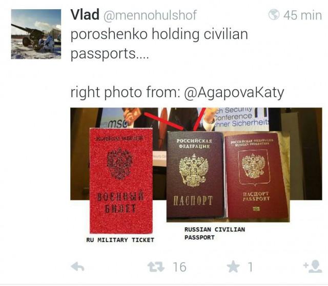 Twitterhuhun mukaan kuvassa ei ole sotilaspassi vaan siviilipassi. Kuva on ovelasti katkaistu siihen kohtaan missä pitäisi näkyä yksi sotilaspassi. Alkuperäisellä videolla sekin näkyy.