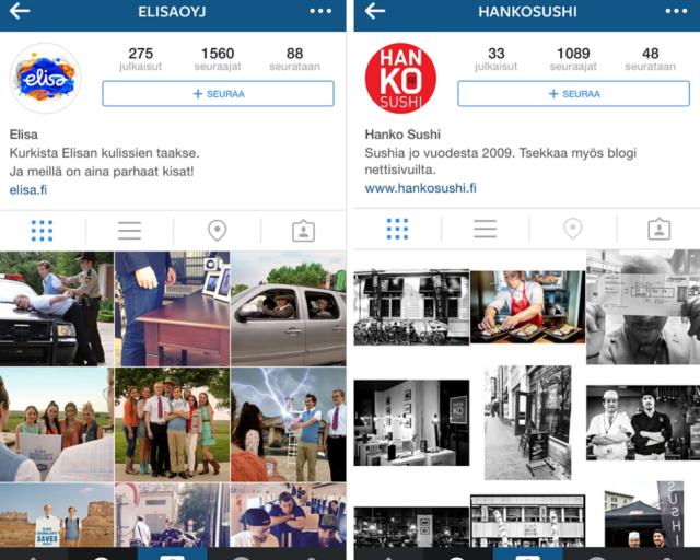 Voit kurkistaa kulissien taakse muun muassa Elisan ja Hanko Sushin Instagram-tileillä.