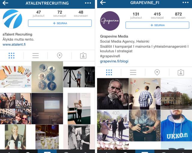 Myös aTalent ja Grapevine esittelevät Instagramissa toimistojensa arkea ja juhlaa.