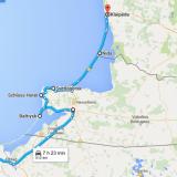 Reittini kulki: Puola Gdansk - Kaliningrad - Baltiysk - Svetlogorsk - Liettua Nida - Klaipeda.