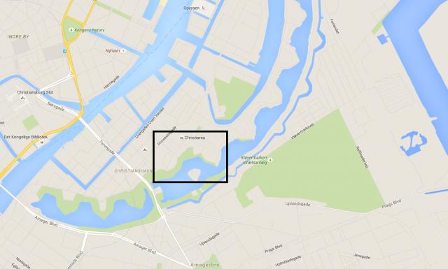 Christiania sijainti Kööpenhaminassa. Kartta (c) Google Maps.