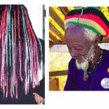 Vasemmalla: tekokuiturastoja (kuva: Cybershop), oikealla: rastafari (kuva: Wikipedia)