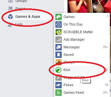 Valitse Facebookista Games & Apps, sieltä Kiwi
