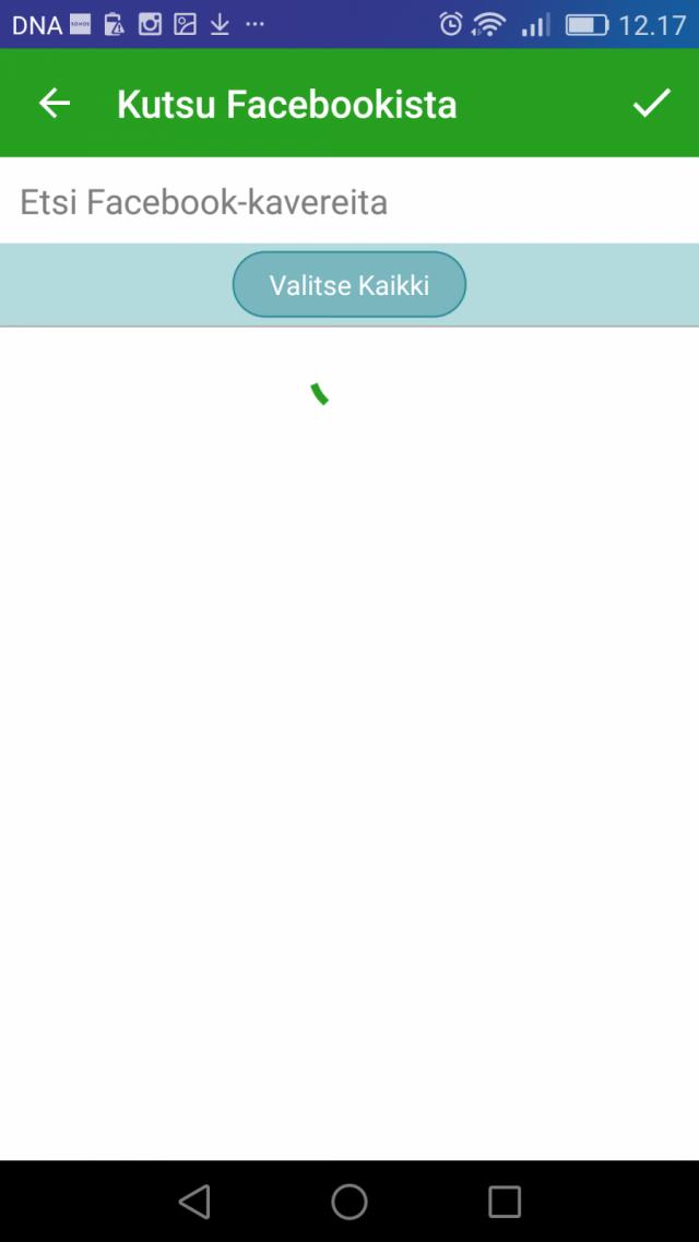Kiwi App kutsuu automaattisesti kaikki kaverisi kun rekisteröidyt ja painat pari kertaa Seuraava/ Next nappulaa.
