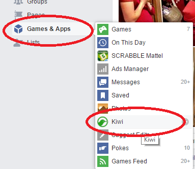 How to uninstall Kiwi? Open Facebook Games & Apps. Select Kiwi.