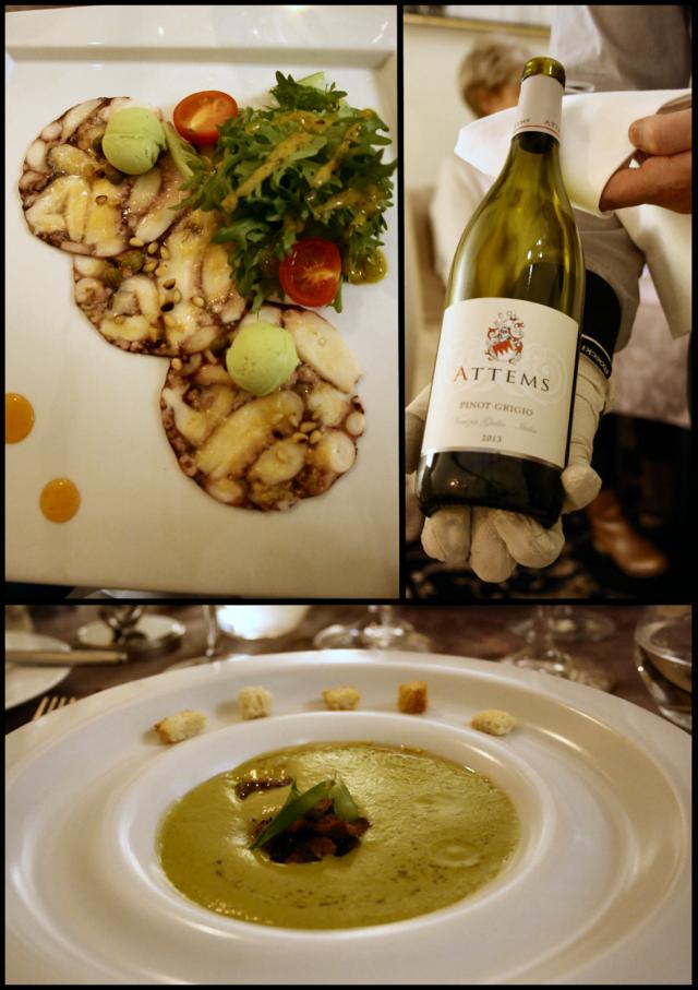 Mustekalacarpaccio, rakuunajäätelö, capris sekä vihreä salaatti. / Attems Pinot Grigio 2013 / Kesäkurpitsakeitto kookosmaidolla sekä inkiväärillä, villisikaa ja sinapinsiemeniä.