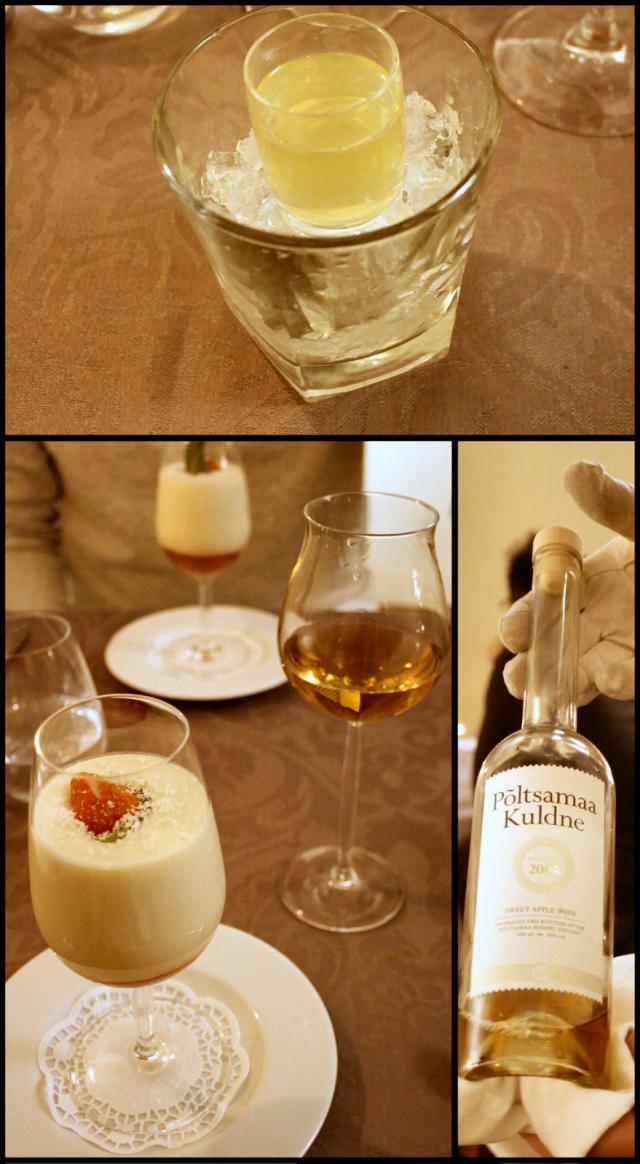 Limonzello rauhoittamaan vatsaa tauon aikana. / Valkosuklaa-samppanjakreemiä sekä mansikkagazpacho. / Jälkkäriviininä Virolainen Põltsamaa Kuldne 2005 vuosikertomenaviini.