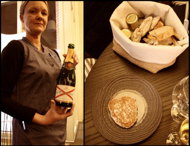 Ekologisesti kierrätysmateriaaleista valmistetut työasut ovat Touchpointin käsialaa. Champagne de Castellane Brut nautiskellaan ostereiden kanssa. / Leipäkorista löytyy mm. voita lipstikalla sekä naturel. Brossa valmistettu tumma leipä on herkullista