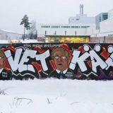 Urheilupomojen naamat ilmestyivät lailliseen graffitiseinään, hävisivät sieltä, ilmestyivät uudelleen ja katosivat taas