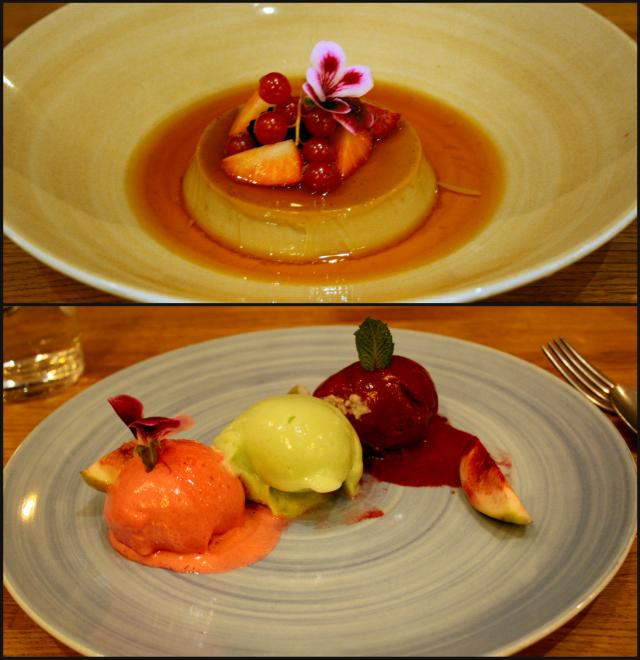 Molemmat valitsemamme jälkiruoat: Mustalla teellä maustettu Crème Caramel sekä Brödin sorbettivalikoima, vaniljaviikunoita. VIINI Brown Brothers Orange Muscat & Flora.