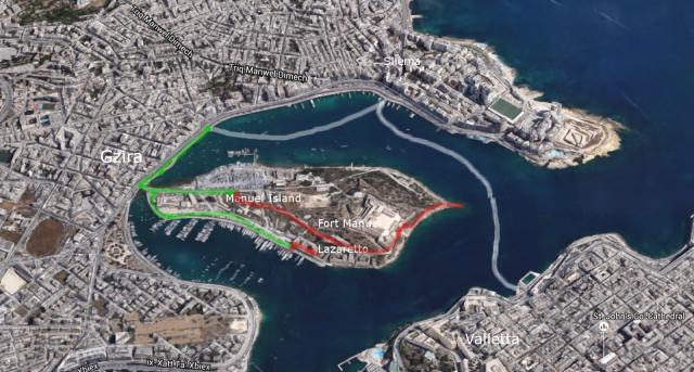 Seikkailu Maltalla: Lautta Vallettasta Sliemaan, sieltä Gziraan, kävellen Manuel Islandille ja Fort Manuelille ja Lazarettoon.