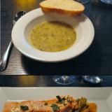 Skippasin salaattipöydän ja otin alkuun leivän sekä yrttikeiton. / Paistettua Kirjolohta,  punaista pestoa, haudutettuja vihanneksia. VIINI: Waltraud Riesling, Penedes, Espanja