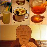 Panzassa on erinomainen valikoima cocktaileja! Kuvissa El Burro, Mezcal Mule sekä Ajurinkadun Amigo. / Juomalista löytyy pöydästä hauskana Panzan logoon sovellettuna pahvipääkallona.