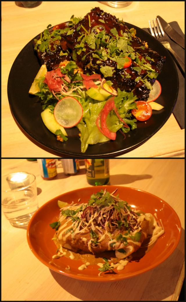 Hunajalla ja siiderillä marinoidut possun ribsit sekä Enchilada de Mole - Fish.
