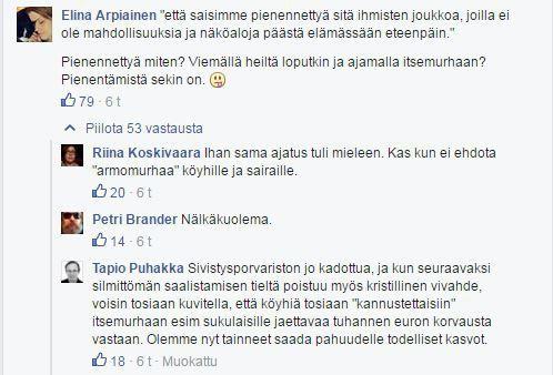 Ote Uuninpankkopojan FB-sivulla käydystä keskustelusta, aiheena Elina Lepomäki ja Kokoomus.