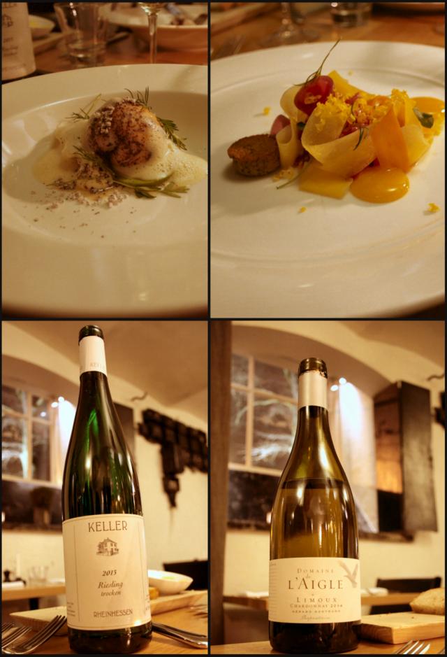 Molemmat alkuruoat, siika-lohi kalapallo sekä uskomaton naudan ulkofiletartarannos. Pariutetut viinit olivat erinomaisia, etenkin Domaine de l'Aigle Chardonnay tartarin kanssa.