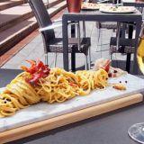 Spaghetti Carbonara Pjazzan tyyliin.
