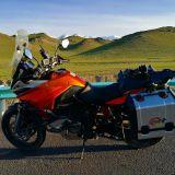 Motorbiking in China. Near Bayinbulak