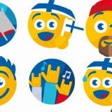 Kesäiset hipsteri- ja hippi-emojit kuvaavat Suomen festarikesää