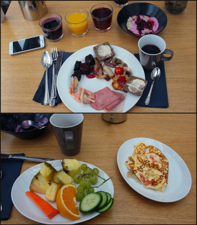 Aamiaisella on tarjolla erinomainen uusia tuulahduksia, erikoisuutena mm. asiakkaan toiveen mukaan paistetut omeletit, pöytään tarjoiltavat kahvit ja teet, musta makkara sekä mehuvalikoima.