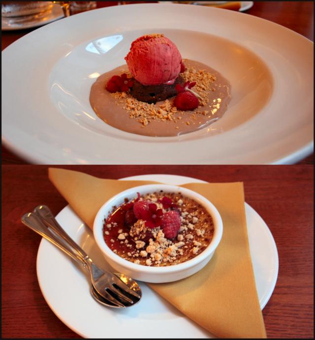 Suklaafondant, Vadelmasorbettia ja maitosuklaakeittoa. / Crème brûlée, hillottuja mansikoita ja paahdettua valkosuklaata.