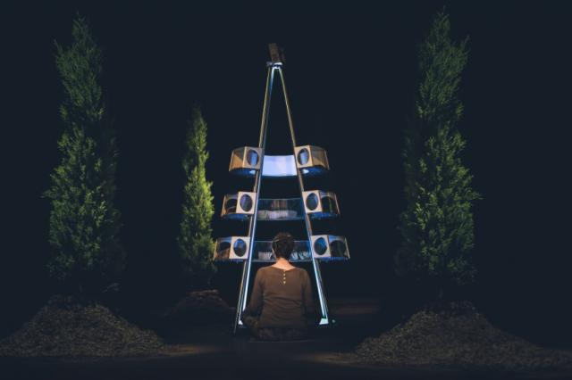 Saša Spačalin ja Slavko Glamočanin audiovisuaalinen installaatio Syncness käsittelee ihmisen kykyä synkronisoitua äänellisesti heinäsirkkojen kanssa.