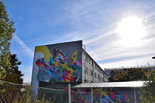 GraffitiSTHLM jätti jälkensä Vallilan Sysmänkujalle.