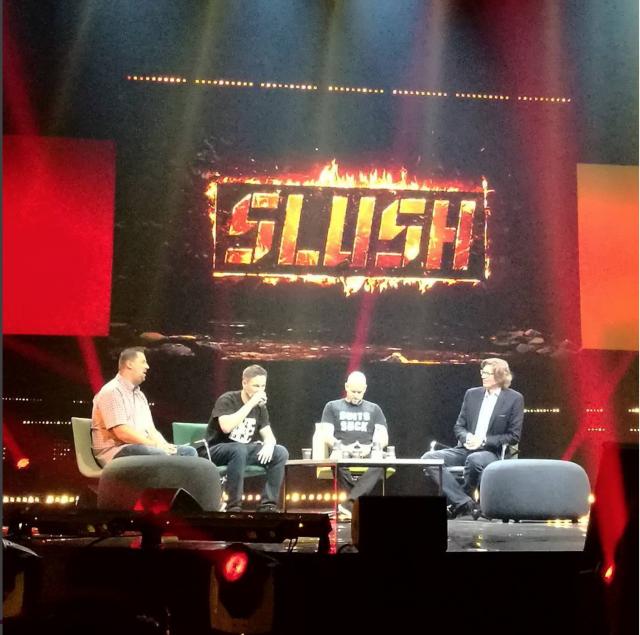 Robin Wauters (Tech.eu), Ilkka Paananen (Supercell), Daniel Ek (Spotify) ja Niklas Zennström (Skype)