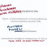 """Suomi-palkinnon saanut Jani Leinonen käytti tilaisuuden kritisoidakseen hallituksen """"rasistista, synkkää ja epäinhimillistä"""" politiikkaa"""