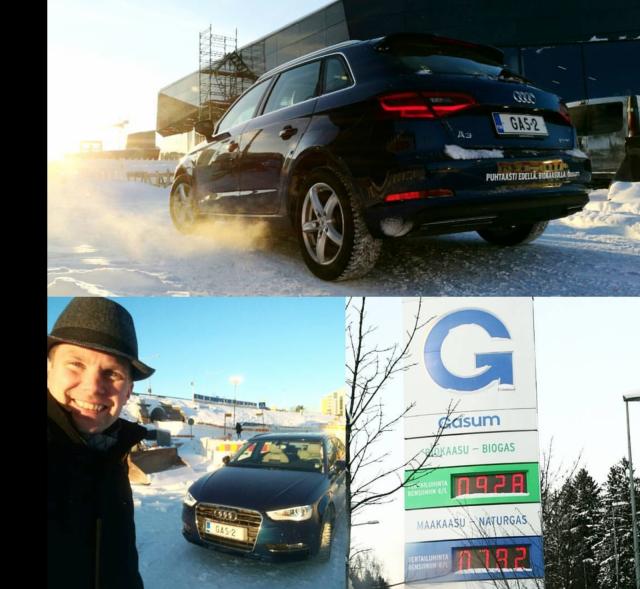 Kaasuautoon voi tankata kaasua, mutta myös bensaa. Käytännössä tämä Audi A3 toimii huomaamatta kummallakin ja osaa vaihtaa tarvittaessa kaasulta bensalle.