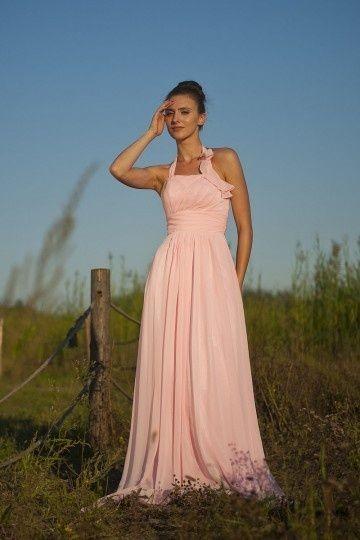 Robe de soirée rose longue halter