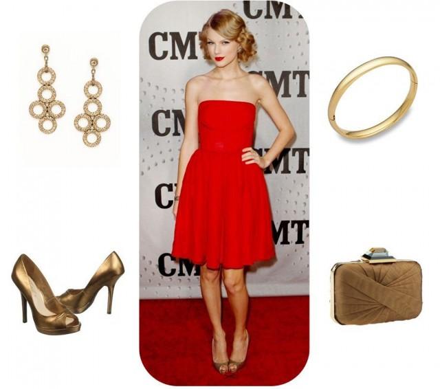 Robe rouge avec accessoires d'or Taylor swift