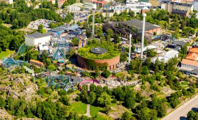 Huvipuisto Linnanmäki yläilmoista katsottuna.