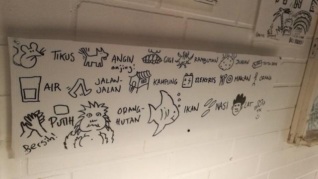 Tämän tehnyt tyyppi oli aikoinaan viettänyt aikaa Indonesiassa ja kirjaili muistamansa sanat ylös kuvien kera. Jalan jalan tarkoittaa tietysti kävelemistä.