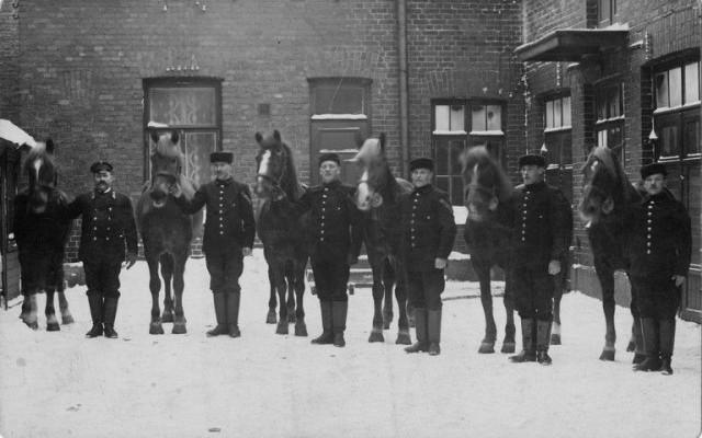 Mestaritallilla hoidettiin aikoinaan Mannerheiminkin hevosta. Kuvassa pääpaloaseman hevosia 1920-luvulta.