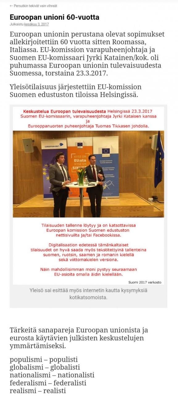 Komissaari Kataisen ulostulot 23.3.2017 veroparatiiseista ja kansanäänestyksistä Suomessa.