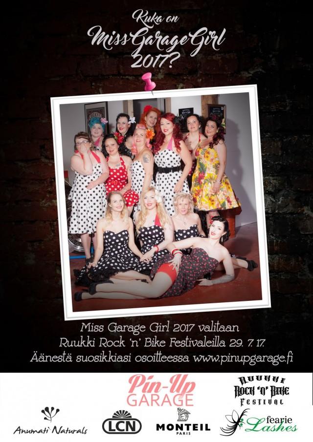Miss Garage Girl valitaan Ruukki Rock 'n' Bike Festivaleilla Loviisassa 29.7.17.