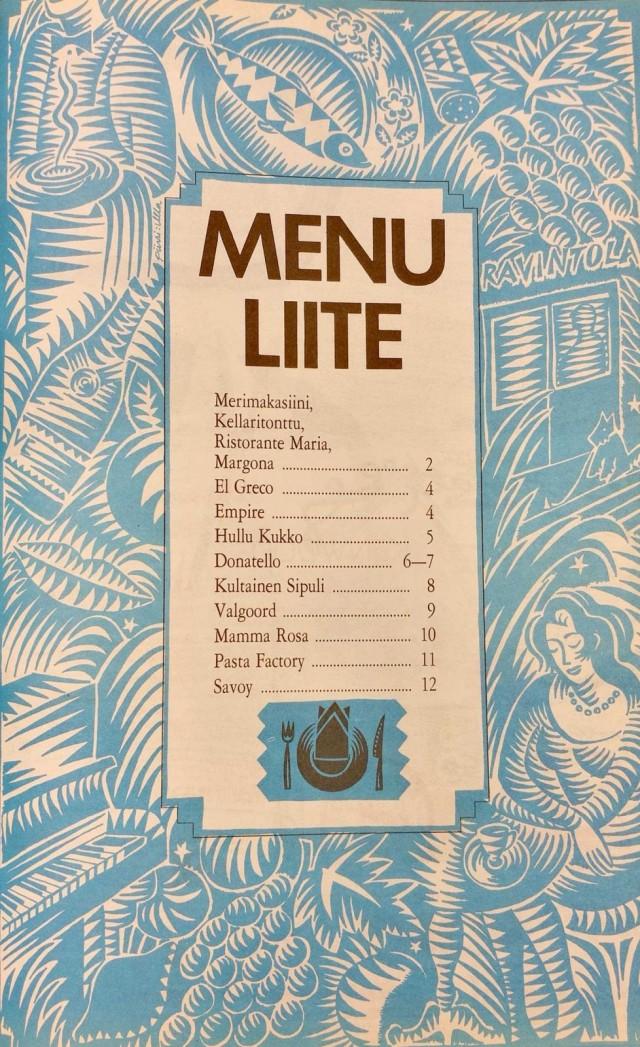 Cityssä julkaistiin vuonna 1989 liite, joka koostui pelkästään ravintoloiden ruokalistoista.